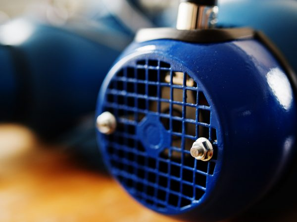 New blue electric motor at work.